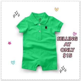 Baby Polo Style Romper / Romper Shorts With Collar