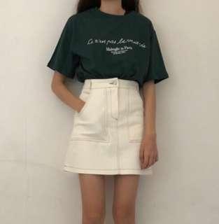 🚚 Nuhi挺版米白車線A字短裙