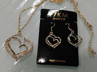 Crystal Charm gold plated Heart shape Pendent chain and earring set