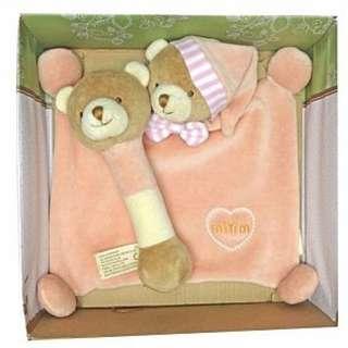 【預購】KP - 美國   miYim:有機棉*晚安小熊禮盒組(內容:安撫巾+手搖鈴*兩件組)_免運。
