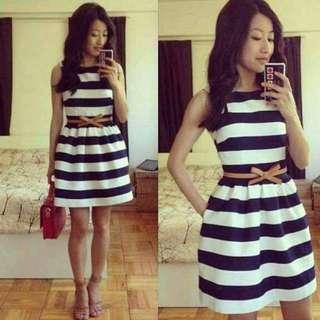 Stripe Dress With Belt