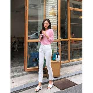 正韓製小帥氣風格素色長褲 pants ( CHUU 官網代購 ) 喇叭褲 抽鬚 不收邊 高腰 修身 褲子