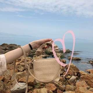 🚚 韓系 夏日渡假風草編小方包斜背包手提包側背包肩背包 預購