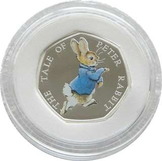 2017 Peter Rabbit 50p Fifty Pence Silver Proof Coin Box Coa