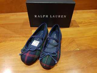 BNIB Ralph Lauren Navy Tartan Plaid Allie Shoes