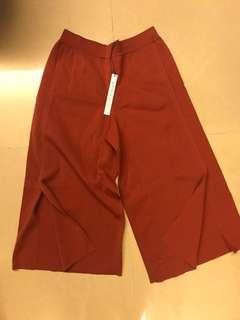 Giordano ladies 暗橙色七分闊腳褲
