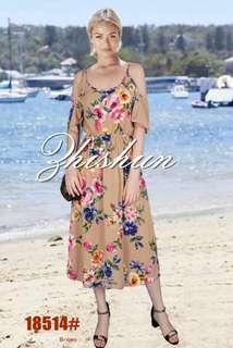 FLORAL COLD SHOULDER DRESS 18514 NC