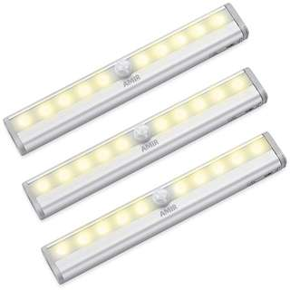 749. AMIR Motion Sensing Closet Lights, 3 Pack DIY Stick-on Anywhere Portable 10-LED Wireless Cabinet Night/Stairs/Step Light Bar with Magnetic Strip, Puck Lights (Warm White, Battery Operated)