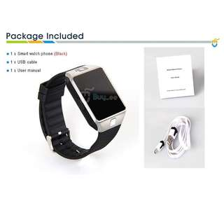 12.SQA Dz09 Bluetooth Smart Watch with Camera for Iphone and Android Smartphones (Silver)