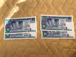 Old SG ship series $1 notes RUNNING NO.