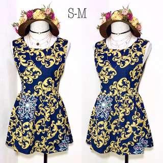 Imported Geometric Print Soft Denim Dress B69