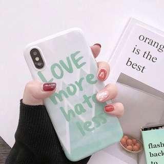 iPhone Case 湖水綠Love more Hate less 夏天心情