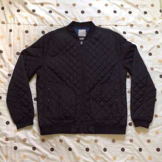 Zara Man Quilted Bomber Jacket Black Original