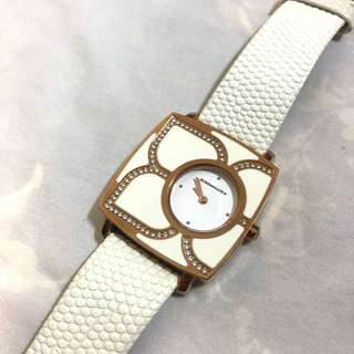 BCBG white leather watch