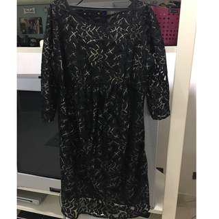 Maternity Black Lace and Gold Cocktail Dress