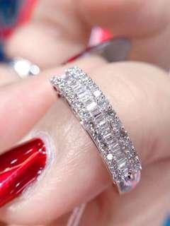 天然50分梯方滿鑽氣質18k白金戒指Ring💍全新優惠價女朋友生日禮物推薦