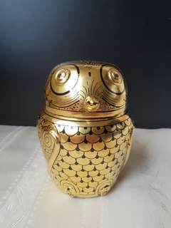18K Gold Leaf Bamboo Base Lacquer Hand Painted Owl Container