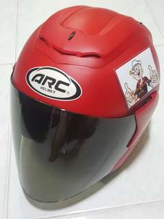 0307*** ARC RITZ Mat RED V Tinted Visor Helmet For Sale 😁😁Thanks To All My Buyer Support 🐇🐇 Yamaha, Honda, Suzuki