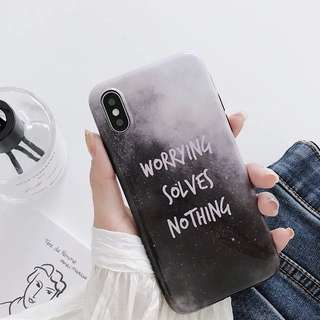 iPhone Case 手機軟殼 worrying solves nothing 星空 quoting