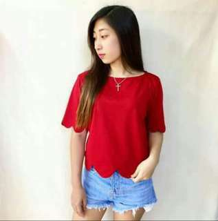Maroon Scallop Top