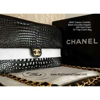 "MINT Classic CHANEL Black Crocodile Alligator 24K Gold Chain 10"" Flap Clutch Bag"
