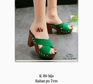Heels green 7 cm