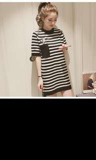 Embroidered stripe t shirt dress