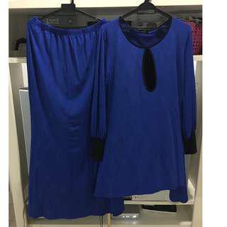 Blue Maternity/Nursing Baju Kurung
