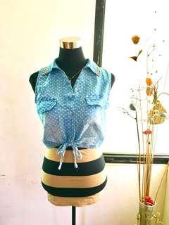 Soft denim polka dots tie crop top with studs