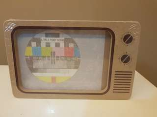 Rustic old school retro tv television display photoframe
