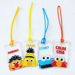 CUSTOM BAG TAG sesame street elmo birdie cookies monster
