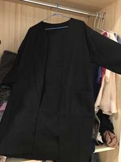 🚚 黑色百搭雪紡罩衫外套