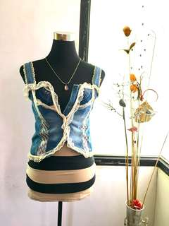Korean lace denim corset top
