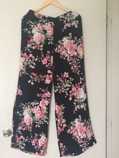 Forever 21 Floral Pants Palazzo Wide Leg Size L