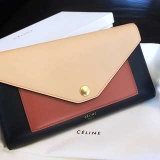 CELINE POCKET TRIFOLDED, MULTICOLOUR SHINY SMOOTH CALFSKIN