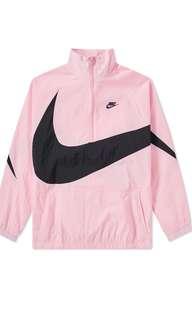 Nike swoosh half zip jacket pullover 粉色 衝鋒外套 防風 風衣