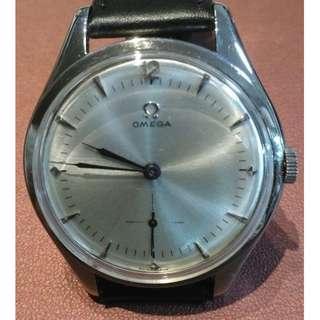 罕有40年代古董 Omega oversize (38mm) 小三針上鍊機械錶 (型號: 2505-31機芯30T2)