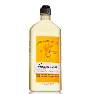 🚚 BN Bath & Body Works Aromatherapy HAPPINESS - BERGAMOT & MANDARIN Body Wash & Foam Bath 295ml
