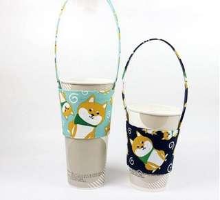 🚚 環保飲料提袋 日系 柴犬狗狗杯套 帆布手提袋奶茶咖啡手搖杯袋