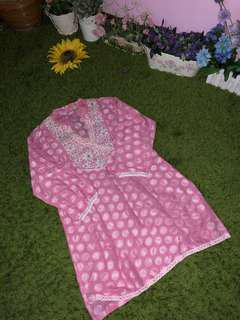 PINK PUNJABI BLOUSE WITH EMBROIDERY