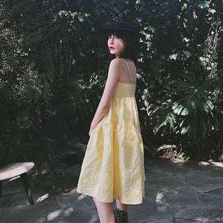 VM 原創 歐美 氣質渡假風 可愛心機設計感仙女森林系公主訂製壓花紋細肩帶吊帶裙