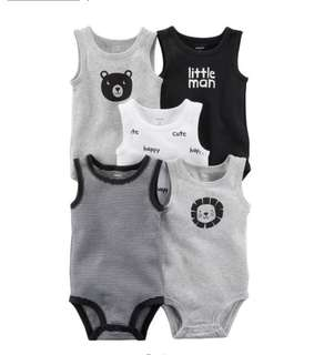 🚚 *3M* Brand New Carter's 5-Pack Tank Top Bodysuits For Baby Boy