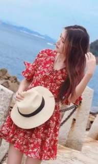 Red floral bell sleeve dress