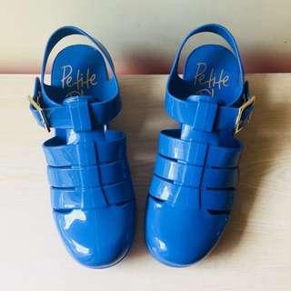 c8f19083ad3b9 Petite Jolie blue heeled jelly sandals shoes
