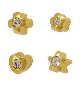 Brand New USA 🇺🇸 STUDEX Surgical Steel 14K Gold Plate - Crystal Rhinestone Ear Studs #STUDEX (3)
