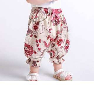 🚚 夏季嬰兒小童花色防蚊褲女寶寶寬鬆哈倫燈籠褲輕薄飛鼠防蚊褲