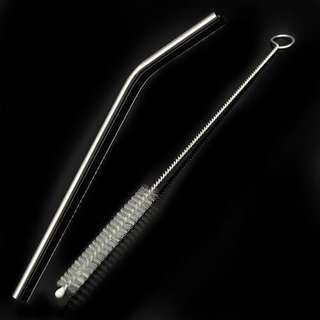 SET: Stainless Metal Straw (Bent) w/ Cleaning Brush