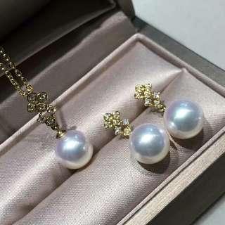 精緻Akoya18k鑽石💎套裝 8.5-9mm正圓乾淨。