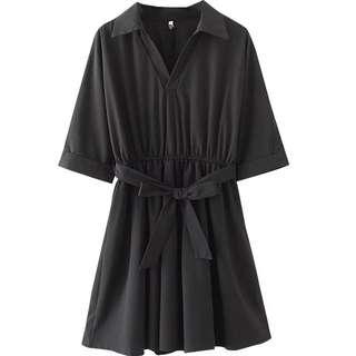 全新 加大碼 3XL 黑色收腰斯文連身裙
