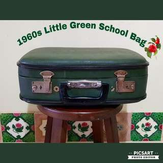 """1970s Cute Little Green Primary School Bag (Written in Pen """"St. Margaret's Primary School"""". Photos shows various angle of the bags and sizes. $35, Sms 96337309."""